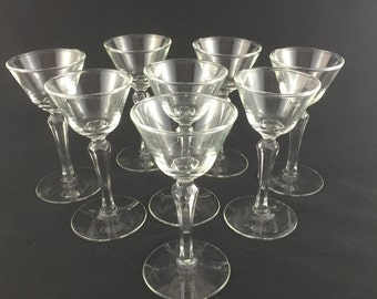 Vintage Libbey Cordial Stemware Glasses, Wine Glasses, Set of 8