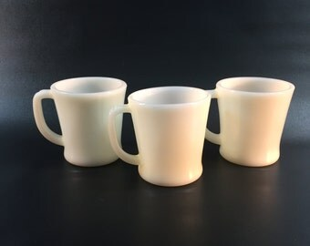 Vintage Fire King Ivory D Handle Cups, Set of 3