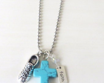 Cross Turquoise Stone Barbell Running Sneaker 5k 10k Marathon Workout Faith Crystal Necklace With Your Choice of Chain