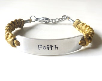 Faith Religious Inspirational Hand Stamped Bracelet You Choose Your Cord Color