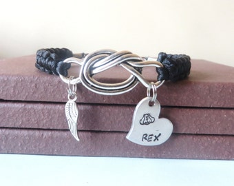 Dog Memorial Angel Wing Personalized Hand Stamped Love Knot Bracelet You Choose Your Cord Color(s)