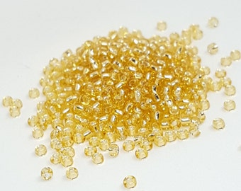 Transparent Gold Seed Beads - Size 11/0