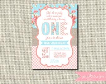 Shabby Chic Birthday Invitation, Shabby Chic Vintage, Burlap First Birthday Invitation, First Birthday Invitation, Burlap Invitation