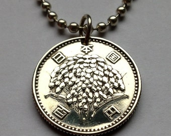 1959 Japan 100 yen coin pendant necklace flowers flowering bouquet Nippon Rice plant Japanese blossom plants flowering No.000136