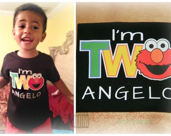 Personalized Toddler Elmo Inspired I'm 2 Two Birthday Shirt Second 2nd One First Party Time Sesame Street Inspired Design