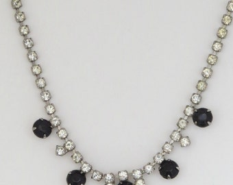 "Vtg Choker Necklace Black Clear Rhinestones Chatons Silvertone Only 14"" Long"