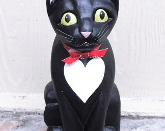 Folk Art Tuxedo Cat Figurine with with Heart Shaped Tux