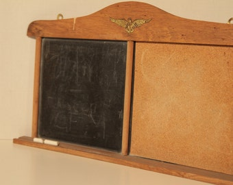 1970's Vintage Message Board, Chalkboard, Cork Board, Wooded, USA, Patriotic, Eagle, Kitchen, Bulletin Board, Wall Organizer, Pin Board