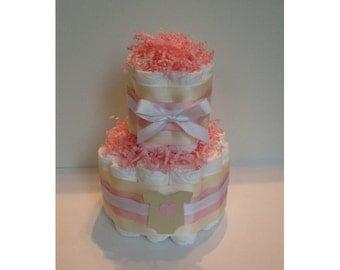 Baby girl diaper cake, pink and cream diaper cake, 2 tier diaper cake, baby girl shower centerpiece, baby girl gift, heart shower decoration