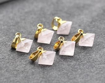 Tiny Diamond Rose Quartz Pendants -- With Electroplated Gold Edge Pink Quartz Charms Wholesale Supplies CQA-029
