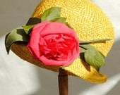 Vintage 1960s Yellow Straw Cloche Hat • Dolores for Cavendish House