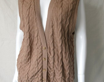 Vintage 70s Pendleton Cable Knit Sweater Vest Cardigan