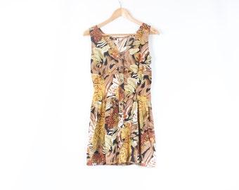 Vintage 80s Jungle tropicana safari mini pockets sun dress