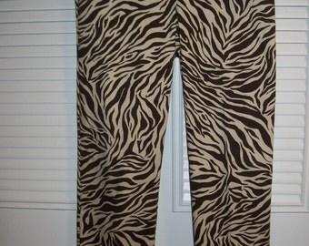 Peck & Peck Zebra Cotton Long Pants, So Vintage, Size 8 - 10  see details