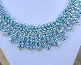 Blue and Silvery Beadwoven Collar Necklace With Silver Toggle Clasp