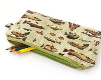Boys pencil case, Fish pencil bag, Boy zipper pouch, Fisherman, Travel wallet boys, Pencil pouch, Boys gift ideas, Boy school accessories