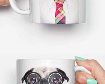 Work pug dog - funny mug, gifts for him, meme mug, unique mug, office mug, housewarming gift, ...
