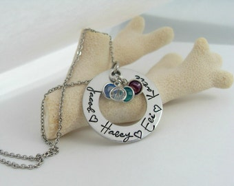 Personalized Mothers Necklace with Birthstones - Personalized Mother's Day Gift - Mother's Day Jewelry  - Mother Child Necklace