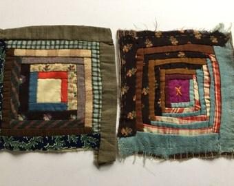 Antique pair of quilt squares  fabric scraps cutter