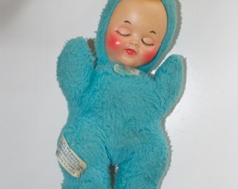 Commonwealth Blue Sleeping Baby Doll with Rattle 10""