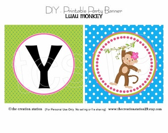 PRINTABLE Party Banner - Luau Monkey - INSTANT DOWNLOAD