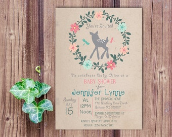 Enchanted Forest baby shower invitation, baby deer invitation, forest baby shower, printable baby shower invitation