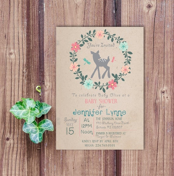 forest baby shower invitation baby deer invitation forest baby