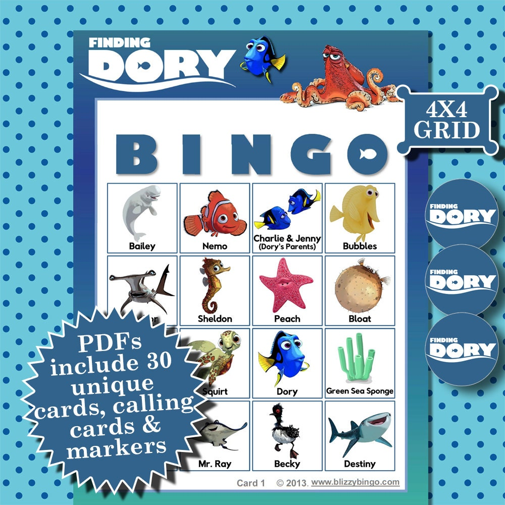 4x4 bingo template - finding dory 4x4 bingo printable pdfs contain everything you