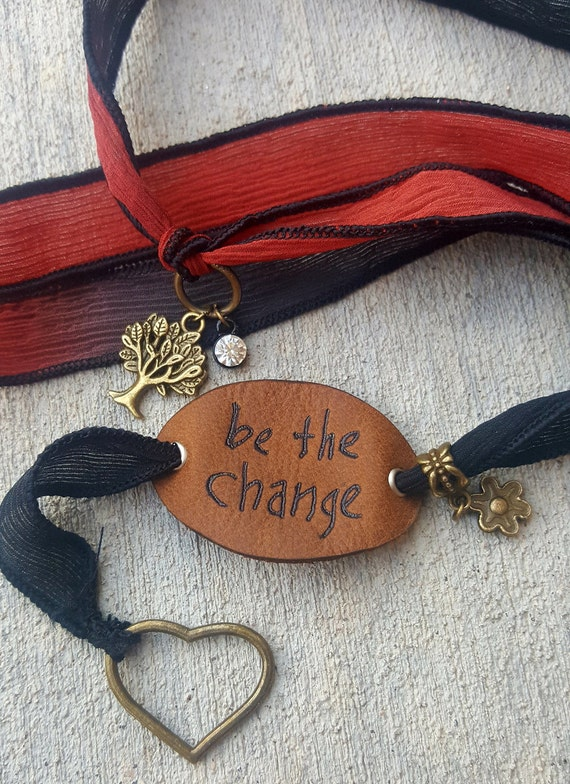 Be The Change - Silk Wrap Bracelet with LEATHER Charm