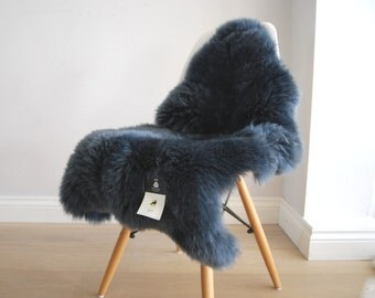 Blue, Beautiful Navy Sheepskin Rug Luxurious Soft superior Eco Hide dark blue navy blue, chair cover, bed cover, carpet, fur, hygge