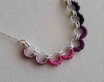Pink, Purple, White, and Silver Chainmaille Necklace