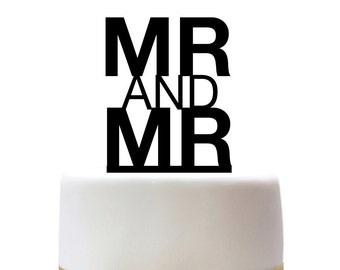 Wedding cake topper mr and mr for gay wedding couples, lasercut, acrylic, wood,  other colors also possible, custom made