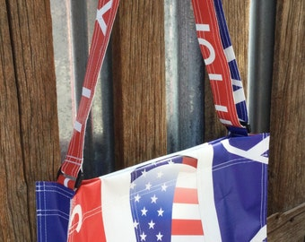 USA Shoulder Bag, Handbag, Purse, Red white and Blue, Patriotic, Tote Bag, Banner Material, Recycled