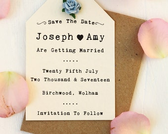Rustic, Elegant, Rose Save The Date Card - Ivory, Paper Rose