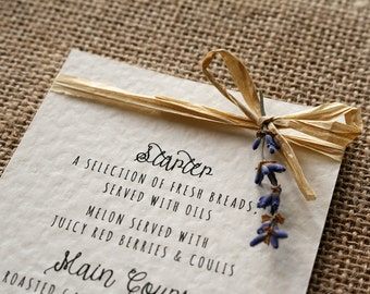 Rustic, Vintage, Lavender and Raffia Menu Card