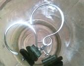Green Tourmaline and Sterling Silver Gemstone Art Earrings