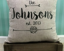 Throw Pillow - Family Name, Last Name, couch cushion cover, established, anniversary, wedding gift, housewarming, rustic, present