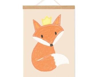 Fox nursery art, woodland animal print, baby fox with crown forest decor, animal illustration INSTANT DOWNLOAD
