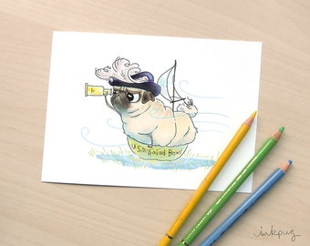 Pirate Pug Art Print - Funny Pug Dog Art, Cute Pug Drawing, Pug Illustration, Adventure Art, Funny Art Print, Nautical Decor by Inkpug