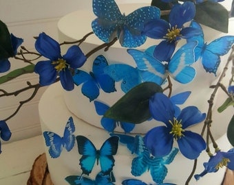 Edible Wafer Something Blue Butterfly Cake/Cupcake Toppers Collection of 16