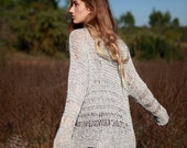 Gray boho sweater, loose weave silver gray cotton linen blend oversize sweater, hand knit grunge sweater