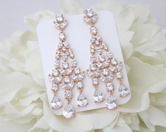 Rose Gold chandelier earrings, Crystal Bridal earrings, Statement Wedding earrings, Rhinestone earrings, Art Deco earrings, Long earrings