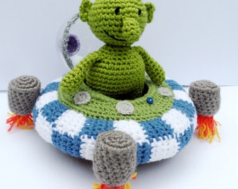 Crochet Spaceship With A Little Alien Soft Toy