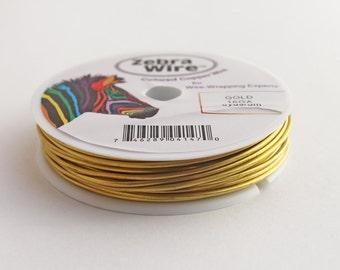 16 gauge brass wire, gold color, round, destash 6-yard spool, coloured copper wire, for wire wrapping, Zebra