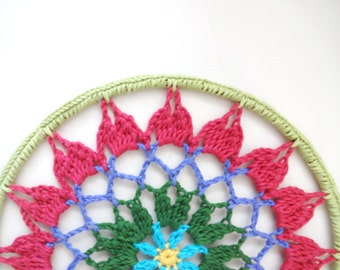 10 inch Crochet Mandala Dreamcatcher Lace Doily Wall Art Hanging in Bright Spring Colors, Unique Boho Hippie Home Decor