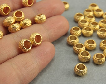 15 pcs Gold Spacer Beads, 24K Matte Gold Rondelle Spacers, (7mm) Gold Rondelle Spacer Beads, Metal Gold Spacer Beads, Gold Spacers / GPY-022