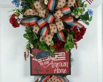 Patriotic Door Wreath - Patriotic Front Door Wreath - Memorial Day Wreath - 4th of July Door Wreath - Summer Door Wreath - 4th of July Swag