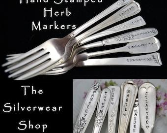 6 Herb Markers, Stamped Garden Markers, Hand Stamped Forks, Plant Stakes Basil Marker, Fork Herb Tag Sweet Marjoram Gift For Gardener