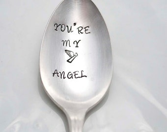 Stamped Silverware, You're My Angel Engraved Vintage Spoon, Inspirational Gifts Under 15  Angel Stamp Personalized Flatware
