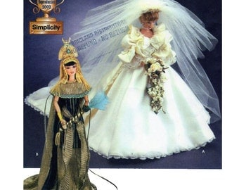 """Diva Doll Collection 1, Simplicity 7077, Wedding Gown, Princess Diana, Cleopatra, Queen, Egyptian, Royal Gowns, Barbie Doll Size 11.5"""" UNCUT"""
